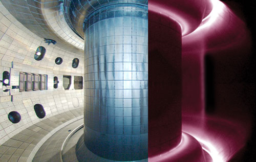 An artist's conception of what the right half of the DIII-D tokamak looks like when energized with plasma.