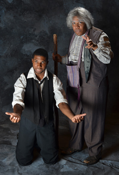 B.J. Minor '13 (left) and Christopher Richardson '13 (who plays Bynum Walker) in a publicity photo for the W&M production of ''Joe Turner's Come and Gone.'' Photo by Geoff Wade.