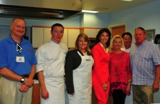 From L: Dr. Kirk Havens, Chef Ryan Manning, Virginia's First Lady Maureen McDonnell, former First Lady Susan Allen, Renee Smith, Executive Chef Peter Pahk, and waterman Ken Smith. Photo by Kathleen Scott.