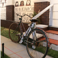 Anderson Johnson painted on everything, even bikes in front of his house.