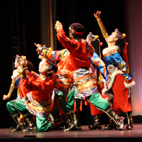 Students in the dance troupe performing.