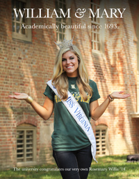 Rosemary Willis in a W&M ad that appears in the Miss America Competition Magazine