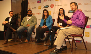 A&E Festival attendees listen to guest speakers discuss their careers in the entertainment industry during the 2012 Festival.
