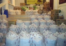 Some of the bags packed with food and medicine by the group that Pinnell is working with in Cebu