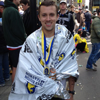 Michael Nickerson '11 satisfied a long-time goal by finishing the Boston Marathon.