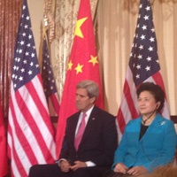 Tyler Brent took this photo of Secretary of State John Kerry and Chinese Vice Premier Liu Yandong from his seat at the U.S.-China Consultation on People-to-People Exchange in Washington last month.