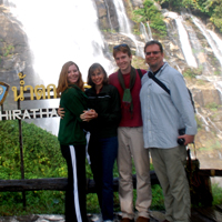 The Smith family at the Wachirathan Waterfall in Northern Thailand