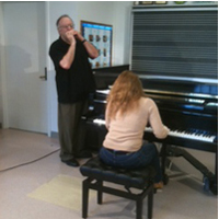 Harris Simon and Sophia Serghi rehearse