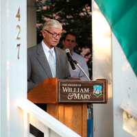 President Taylor Reveley offers remarks at the AidData and ITPIR Open House.