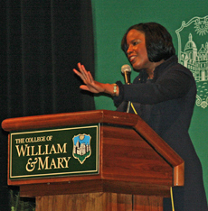 Roslyn M. Brock speaks at W&M's 2014 Martin Luther King, Jr. Commemoration. Photo by Sierra Barnes '14.