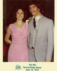 Bob and Audrey at a fraternity dance in the old Campus Center ballroom in 1977. ''Little did we think that we would attend W&M graduation for both of our kids someday,'' said Bob.