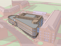 Architect's drawing of the new ISC 3 at William & Mary, which will fill the space between ISC 1, to right) and ISC 2, the old Rogers Hall.