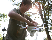 Daniel Duane with the quadcopter (photo by Stephen Salpukas)