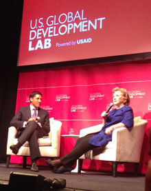 USAID Administrator Rajiv Shah and Hillary Clinton at the launch event
