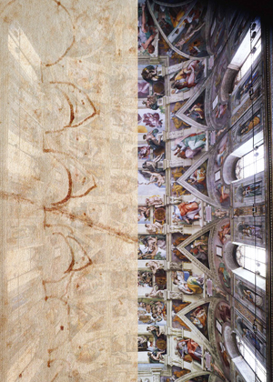 Comparison between the sketch of the Archivio Buonarroti, XIII, 175v and a view from the bottom of the Sistine Ceiling, drawing by Adriano Marinazzo.