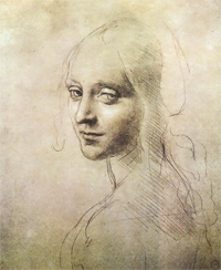 ''Head of a Young Woman'' (study for the angel in the ''Virgin of the Rocks'')