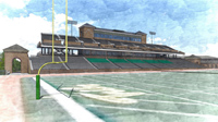 View of the proposed west grandstand from the field at Zable Stadium