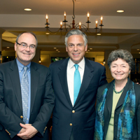 From left: W&M Vice Provost Stephen E. Hanson, Jon Huntsman and Miriam Kazanjian, consultant for the Coalition for International Education