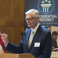 Taylor Reveley addresses YALI participants. Photo by Dan Addison