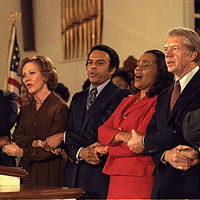 PresidentJimmy Carter and First Lady Rosslyn Carter, with Coretta Scott King and Andrew Young at Ebenezer Baptist Church