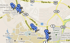 Google Map of Off Campus W&M Express locations