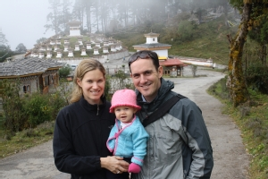 Odette Clark '00, Tim Campbell '98, and daughter Heloise in Bhutan.