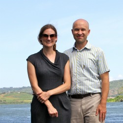 Glaser and Hendrix, summer 2011, during a research trip to Jinja, Uganda to visit the National Fisheries Resources Research Institute.