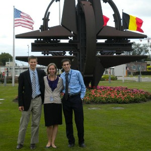 Klicker with fellow NATO interns Eva Baker and Nicky Bell