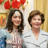 Noorestani with the First Lady Laura Bush at the Embassy of Afghanistan during an event of the U.S.-Afghan Women's Council. Mrs. Bush serves as an Honorary Advisor of Council.