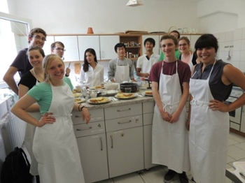 W&M students enjoy a cooking class in Potsdam, Germany as part of their summer study abroad program.