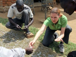 Sarah Glaser picking mukene in Uganda. This edible minnow is known as dagaa in Tanzania and omena in Kenya.