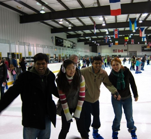 An outing to the local ice skaing rink
