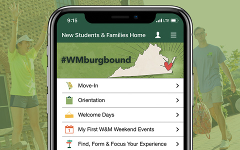 W&M Mobile app showing the New Students & Families home screen