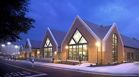 Exterior shot of the Student Recreation Center at night