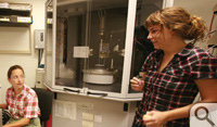 Chemist Debbie Bebout & Ashley Butland '10 work in X-Ray Diffraction Lab.