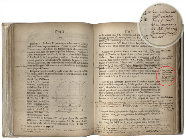 Inset shows details of the annotations in William & Mary's first-edition copy of Isaac Newton's Principia