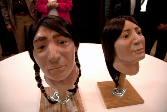 Sharon Long, a biological anthropologist at the University of Wyoming, worked with two crania to craft these forensic facial reconstructions
