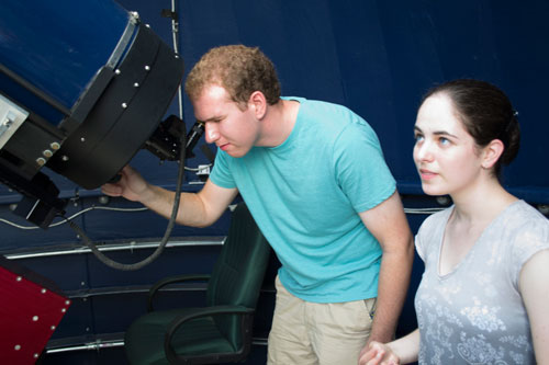 Jacob Gunnarson and Alexandra Cramer hope to use the Meade telescope in the Harriott Observatory to capture asteroid strikes in the planets of the outer solar system.