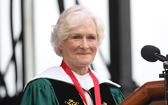 Glenn Close '74, D.A. '89 addressed William & Mary's Class of 2019 Saturday morning in Zable Stadium